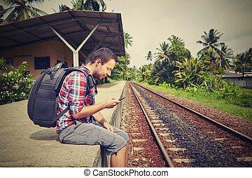 jovem, viajante