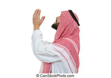 joven, árabe, hombre, de, musulmán, religión, rezando, aislado, blanco, plano de fondo