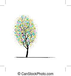 joven, árbol, para, su, diseño