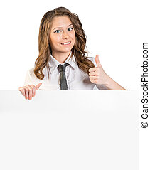 joven, actuación, arriba, señal, pulgares, corbata, niña