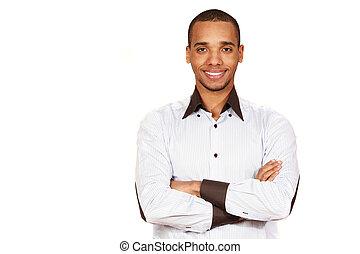 joven, african - american, hombre de negocios, aislado, blanco, plano de fondo