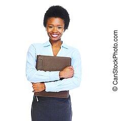 joven, africano, mujer de negocios