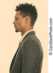 joven, africano, opinión del perfil, hombre de negocios