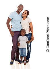 joven, africano, pareja, posición, con, su, hijo