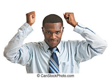 joven, americano africano, hombre de negocios, aislado