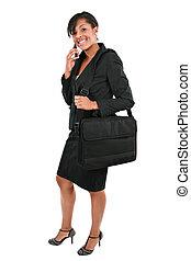 joven, americano africano, mujer de negocios, con, teléfono celular