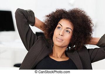 joven, americano africano, mujer de negocios