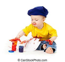 joven, artista, niño, con, pinturas