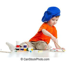joven, artista, niño, con, pinturas, y, cepillo
