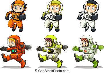 joven, astronautas