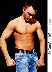 joven, atlético, hombre, con, muscular, torso