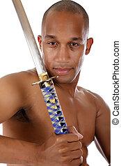 joven, atractivo, hombre norteamericano africano, espada