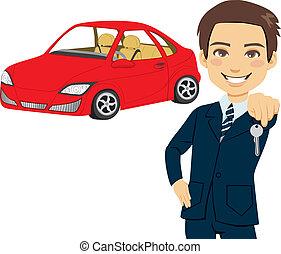 joven, automóvil, vendedor