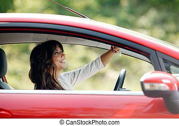 joven, bastante, mujer, endeudado, coche