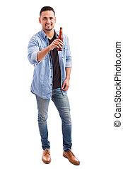joven, bebida, cerveza, de, un, botella