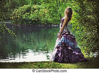 joven, belleza, en, naturaleza, paisaje