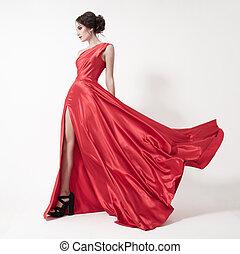 joven, belleza, mujer, en, ondear, rojo, dress., blanco,...