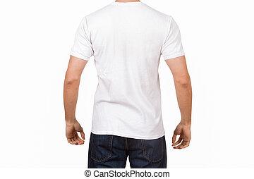 joven, blanco, tshirt, hombre