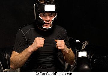joven, boxeador, psyching, sí mismo, arriba, como, él, vestidos
