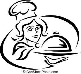 joven, camarero, con, bandeja del alimento