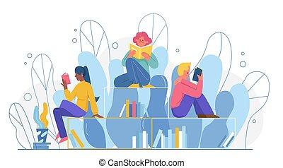 joven, caracteres, biblioteca, booklover, juntos, leer, caricatura, sentado, libros, estantería, gente