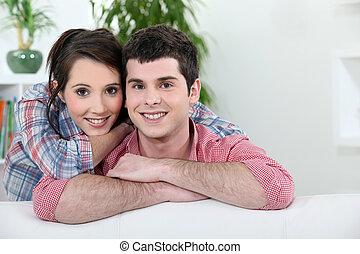 joven, cariñoso, pareja