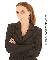 joven, caucásico, mujer de negocios