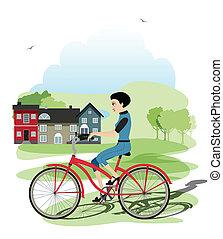 joven, ciclistas
