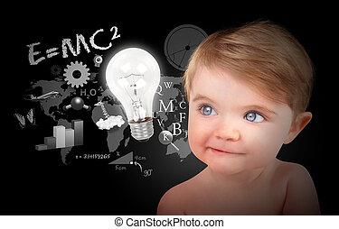 joven, ciencia, educación, bebé, en, negro