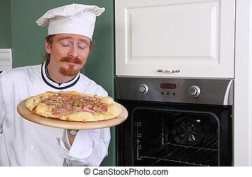 joven, cocina, chef, oler, italiano, pizza