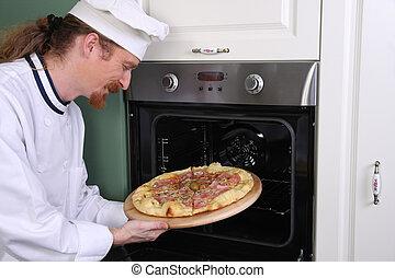 joven, cocina, preparado, chef, italiano, pizza