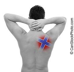 joven, con, dolor de espalda