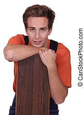 joven, con, piso de madera, tablas