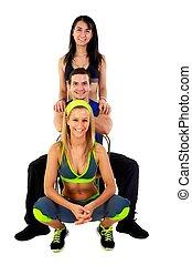 joven, condición física, instructores, contra, fondo blanco