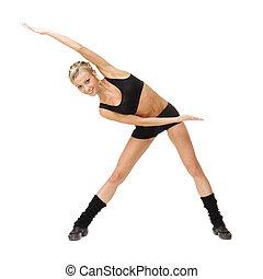 joven, condición física, mujer, hacer, ejercicio
