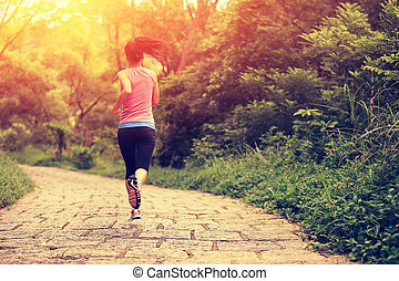 joven, condición física, mujer que corre