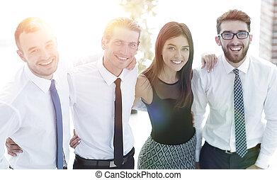 joven, creativo, equipo negocio