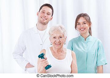 joven, doctors, y, paciente