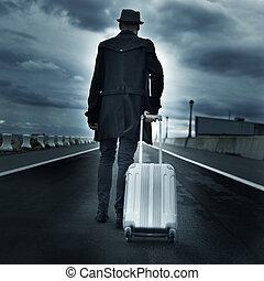 joven, efecto, rodante, dramático, maleta, hombre