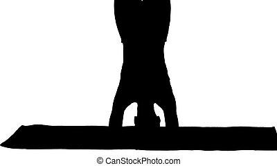 joven, ejercicio, mujer, silueta, yoga, hermoso, variación, ...