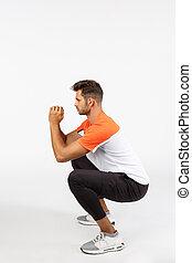 joven, ejercicios, masculino, macho, entrenamiento, juntos,...