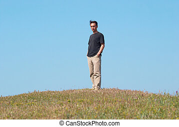 joven, en la hierba, campo