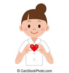 joven, enfermera, con, corazón, en, ella, mano