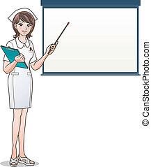 joven, enfermera, señalar, pantalla en blanco