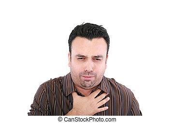 joven, enfermo, hombre, toser, aislado, encima, fondo blanco