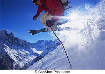 joven, esquí