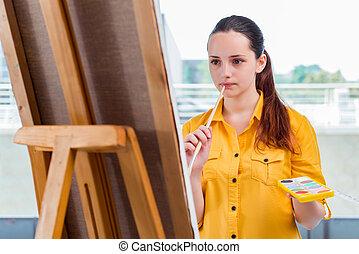 joven, estudiante, artista, dibujo, cuadros, en, estudio