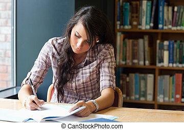 joven, estudiante, escritura
