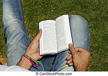 joven, ex-muslim, lectura, biblia, exterior