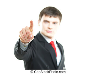 joven, exitoso, hombre de negocios, planchado, imaginario, botón, aislado, blanco